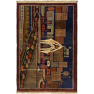 Unique Loom 3' x 4' 7 Balouch Persian Rug