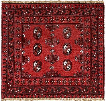 91x102 Afghan Akhche Rug