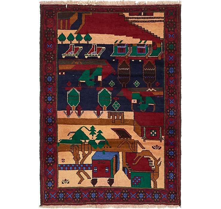 90cm x 132cm Balouch Persian Rug