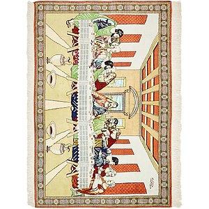 HandKnotted 3' 3 x 4' 10 Qom Persian Rug
