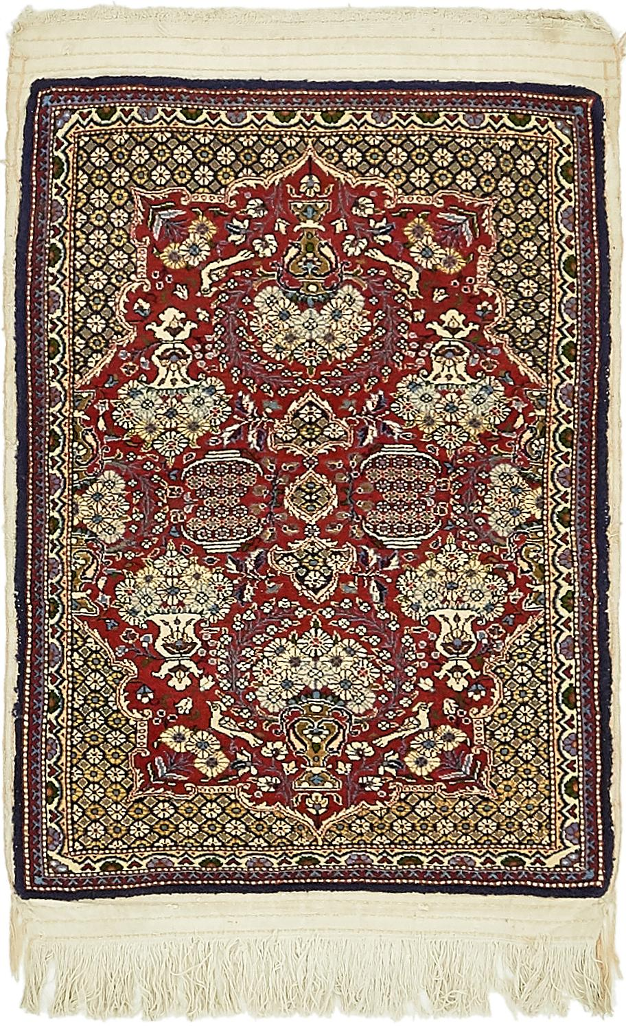 Red 2 4 X 3 2 Qom Persian Rug Persian Rugs Handknotted Com