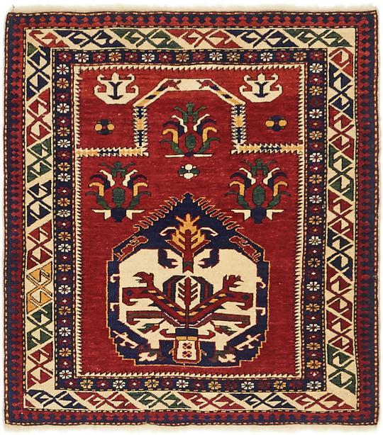 Red 3 X 3 4 Kazak Oriental Square Rug Area Rugs Esalerugs