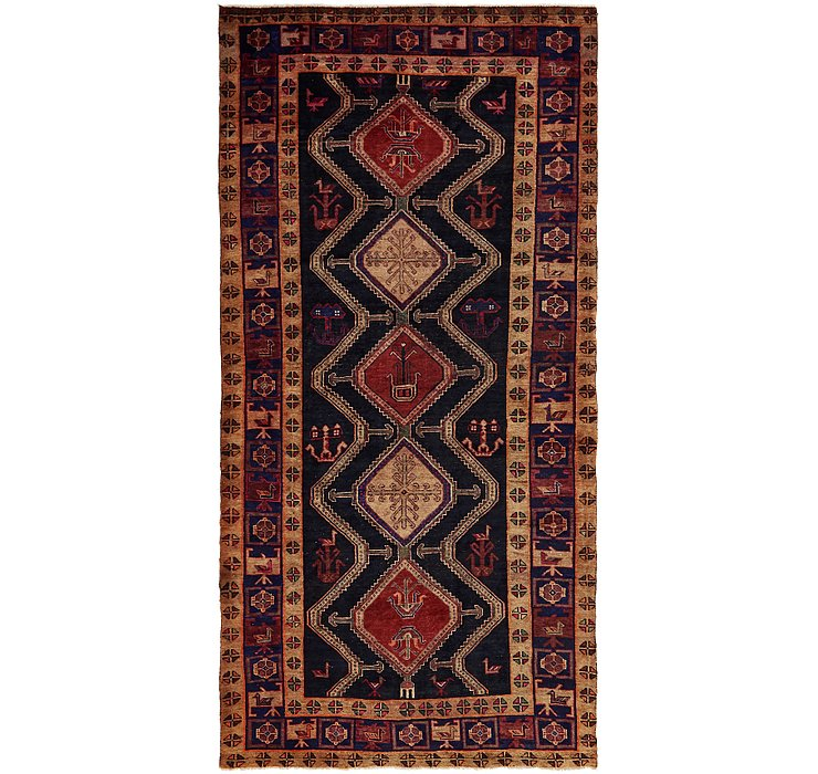 HandKnotted 4' 10 x 10' Chenar Persian Runner Rug