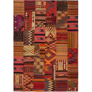 Unique Loom 6' 10 x 9' 10 Kilim Patchwork Rug