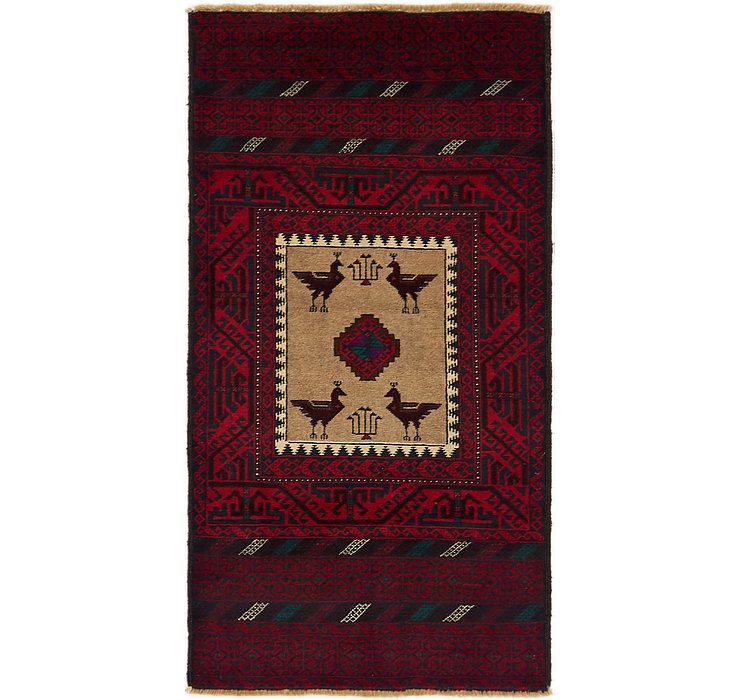 90cm x 175cm Balouch Persian Rug