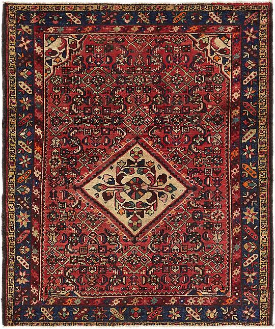 Red 135cm X 165cm Hossainabad Persian Square Rug