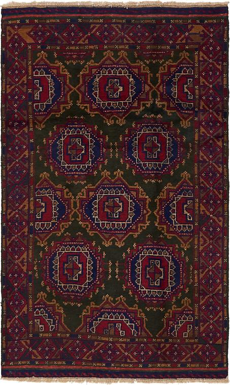 Hunter Green 3 7 X 5 10 Balouch Persian Rug Persian