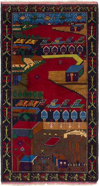 Red 3 10 X 7 4 Balouch Persian Runner Rug Persian Rugs