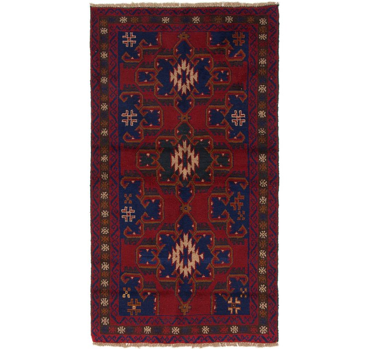 HandKnotted 3' 6 x 6' 3 Balouch Persian Rug