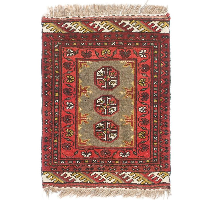 HandKnotted 1' 8 x 2' 6 Afghan Akhche Rug