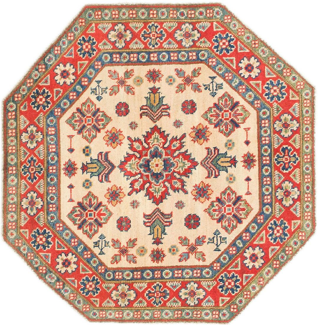 Cream Handknotted 3 3 X 3 4 Kazak Octagon Rug Oriental Rugs