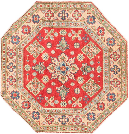 Red  3' 3 x 3' 4 Kazak Octagon