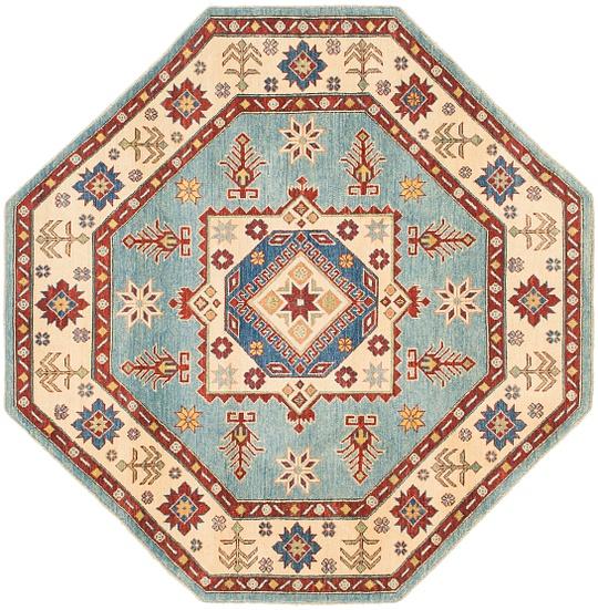 Light Blue  6' 4 x 6' 6 Kazak Octagon