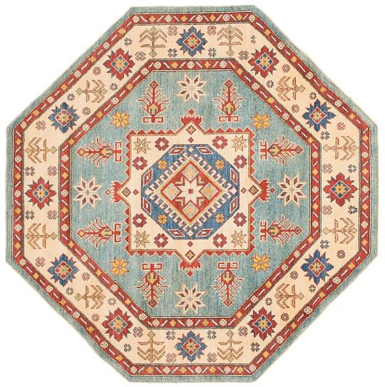 Light Blue  6' 4 x 6' 5 Kazak Octagon