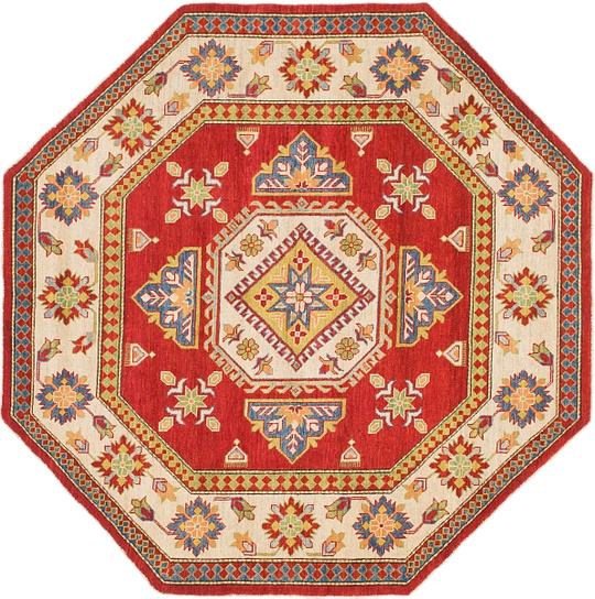 Red  7' x 7' 2 Kazak Octagon