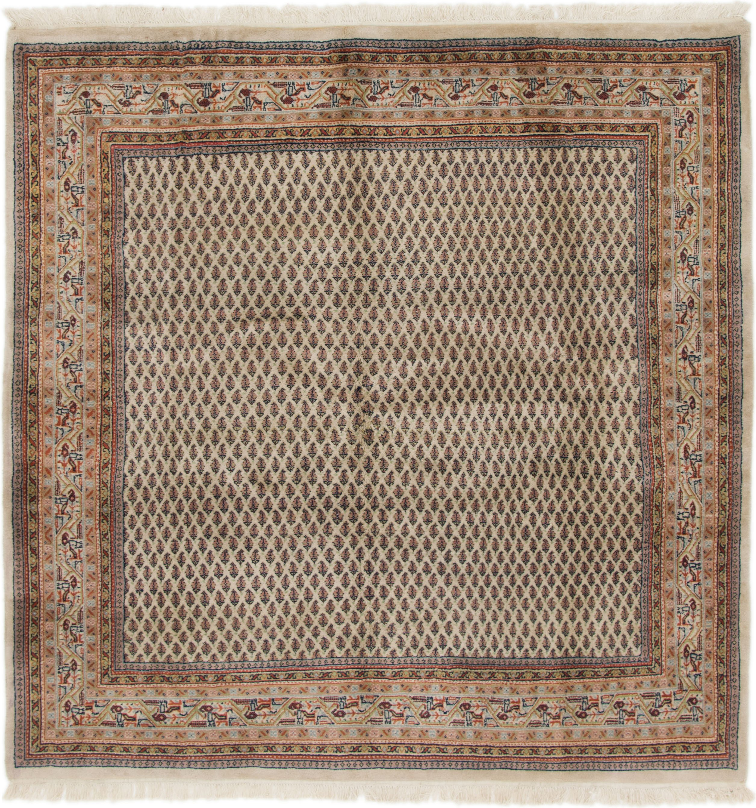 Beige 6 5 X 6 6 Mir Square Rug Oriental Rugs Unique Loom