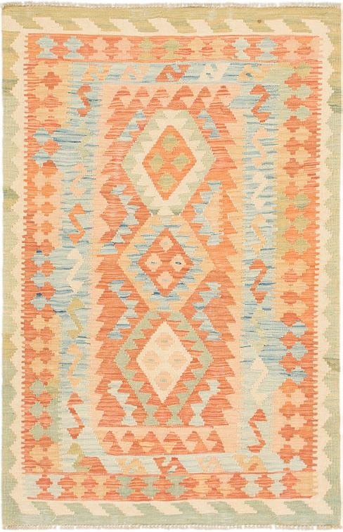 Orange 3 2 X 4 10 Kilim Waziri Rug Area Rugs Esalerugs