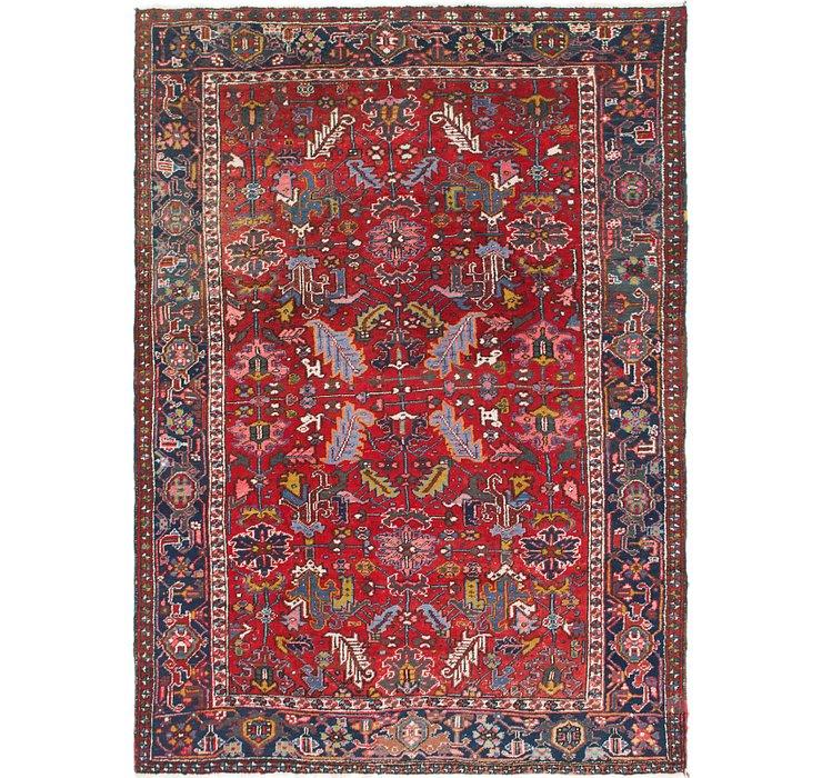 7' x 9' 6 Heriz Persian Rug