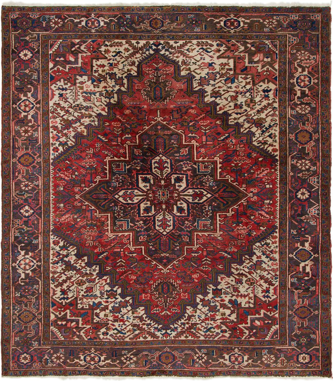 Red 7 8 X 8 9 Heriz Persian Square Rug Persian Rugs