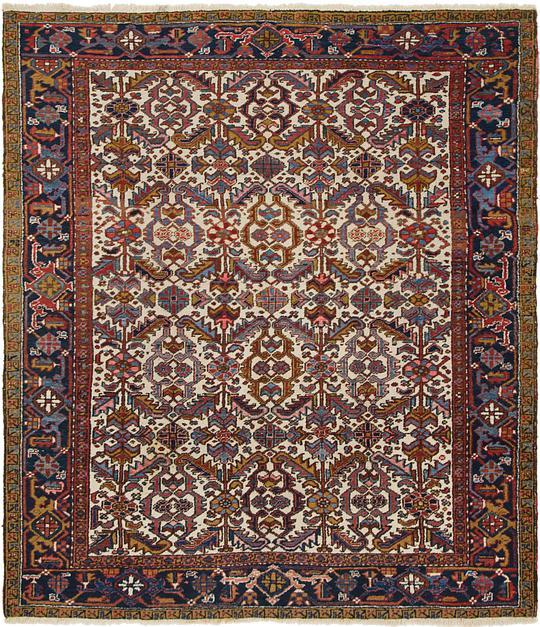 Ivory 7' 9 X 9' Heriz Persian Square Rug