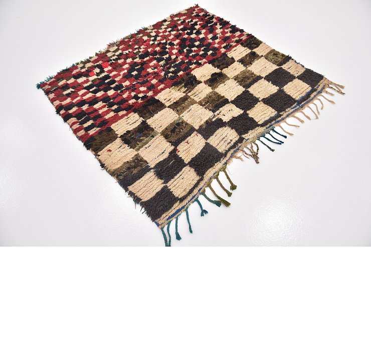 HandKnotted 4' 9 x 5' 2 Moroccan Square Rug