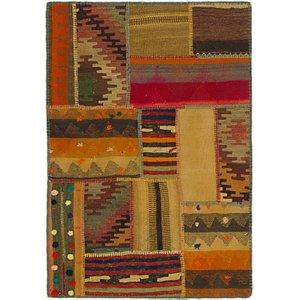 Unique Loom 2' 8 x 4' Kilim Patchwork Rug