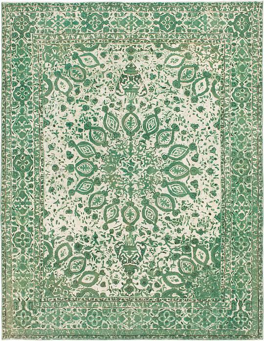 Green 9 9 X 12 8 Ultra Vintage Persian Rug Persian Rugs Esalerugs