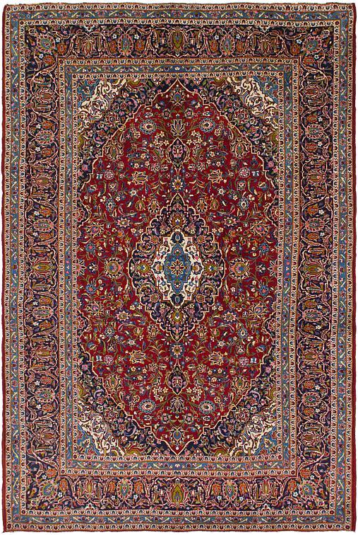Red 9 4 X 13 8 Kashan Persian Rug Persian Rugs Esalerugs