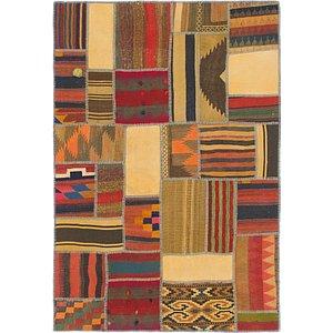Unique Loom 4' x 5' 10 Kilim Patchwork Rug