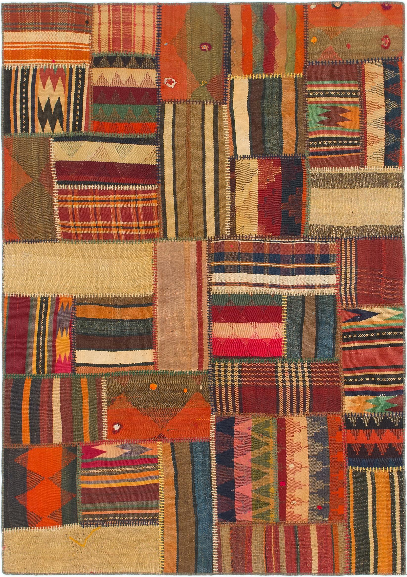 Multicolor 4 10 X 7 Kilim Patchwork Persian Rug Erugs
