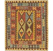 Link to Unique Loom 3' 2 x 3' 7 Kilim Maymana Square Rug