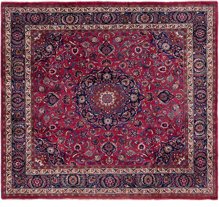 9' 4 x 10' 3 Mashad Persian Square Rug