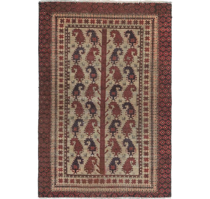 4' x 5' 10 Balouch Persian Rug