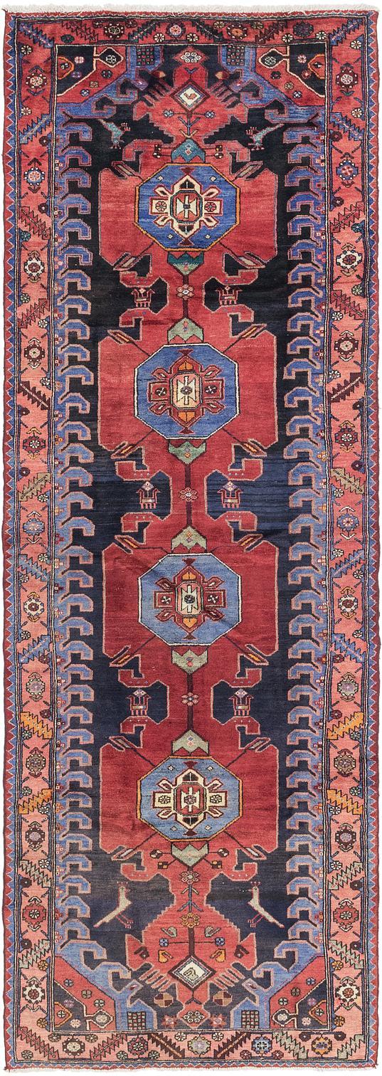 Black Handknotted 4 3 X 12 6 Hamedan Persian Runner Rug Persian