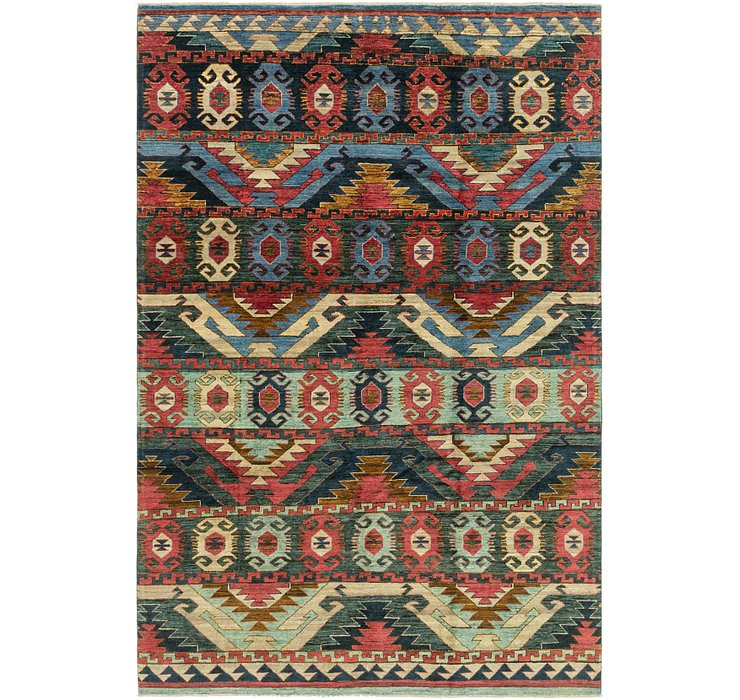 HandKnotted 6' 4 x 9' 9 Ikat Rug
