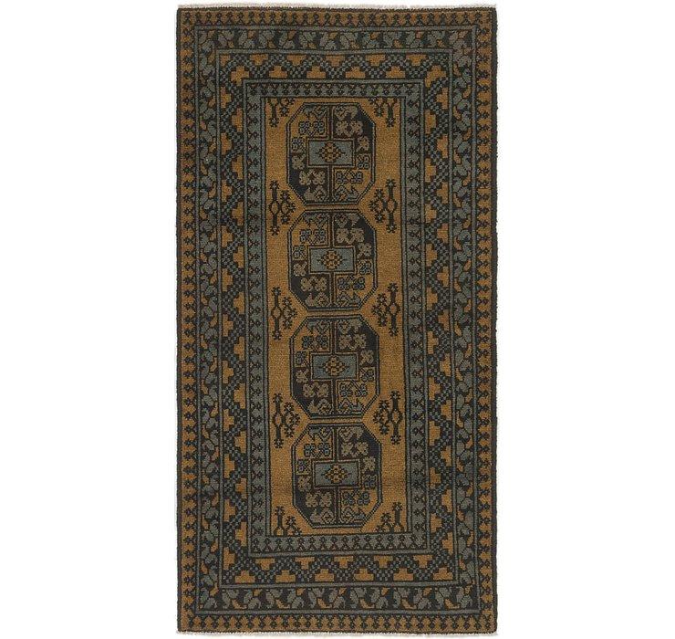 3' 3 x 6' 5 Afghan Akhche Runner Rug