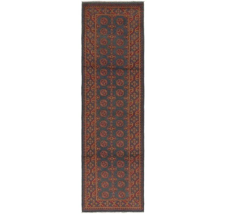 2' 9 x 9' 8 Afghan Akhche Runner Rug