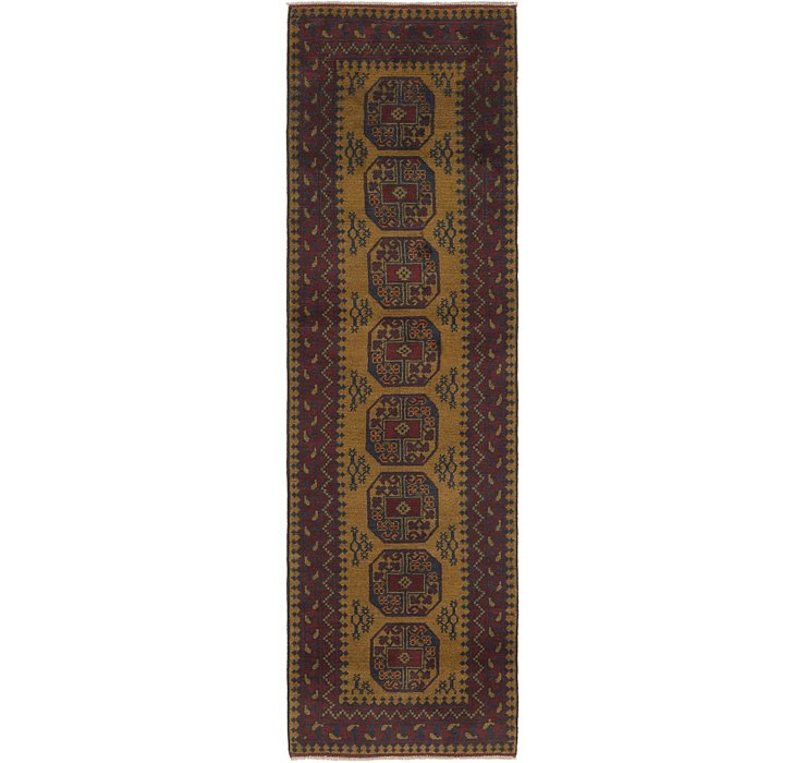 HandKnotted 2' 8 x 9' 7 Afghan Akhche Runner Rug