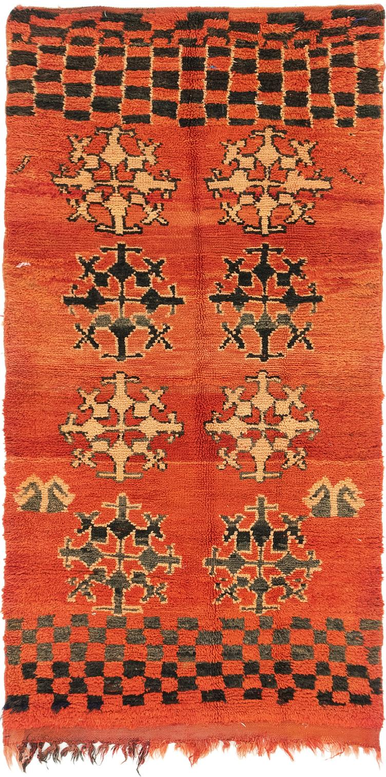Rust Red Handknotted 3 6 X 7 Moroccan Runner Rug Oriental Rugs
