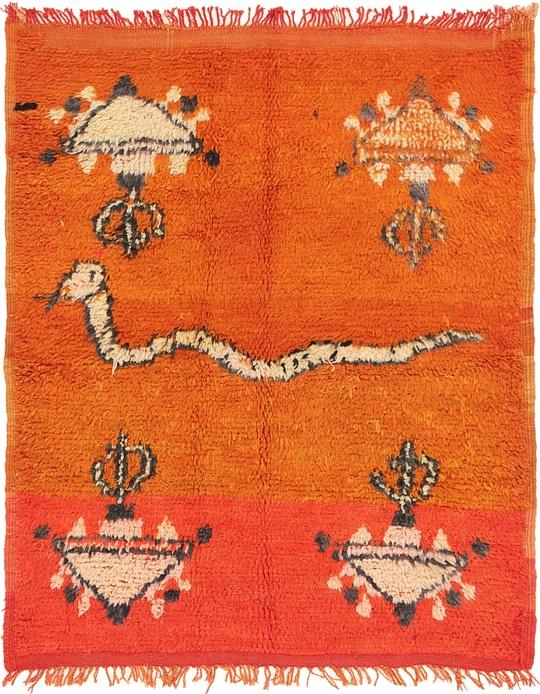 Orange  4' 4 x 5' 4 Moroccan Square