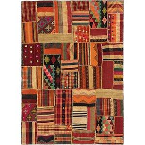 Unique Loom 5' 9 x 8' Kilim Patchwork Rug