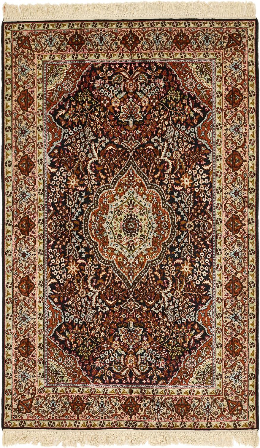 Black 4 X 6 7 Kashmir Oriental Rug Oriental Rugs Handknotted Com