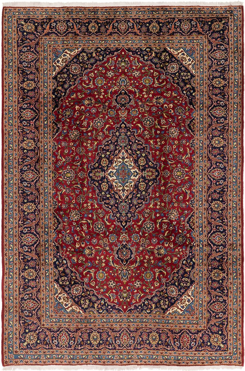 Red Handknotted 8 X 12 3 Kashan Persian Rug Persian Rugs Rugs Com
