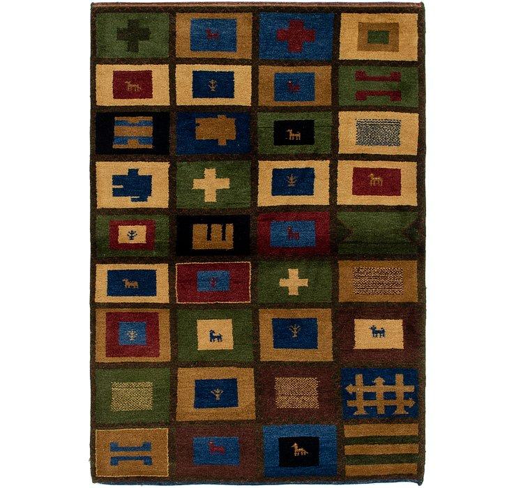 4' 3 x 6' Shiraz-Gabbeh Persian Rug