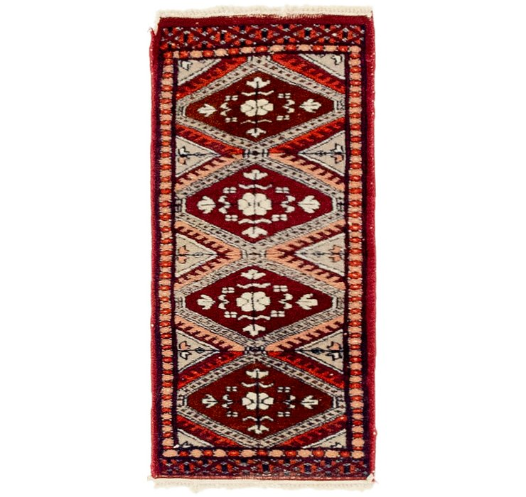 HandKnotted 1' x 2' Bokhara Oriental Rug