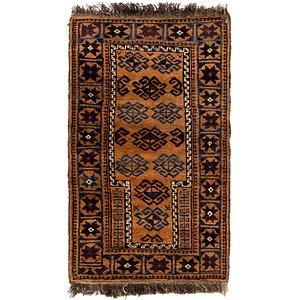 2' 4 x 4' Afghan Akhche Rug
