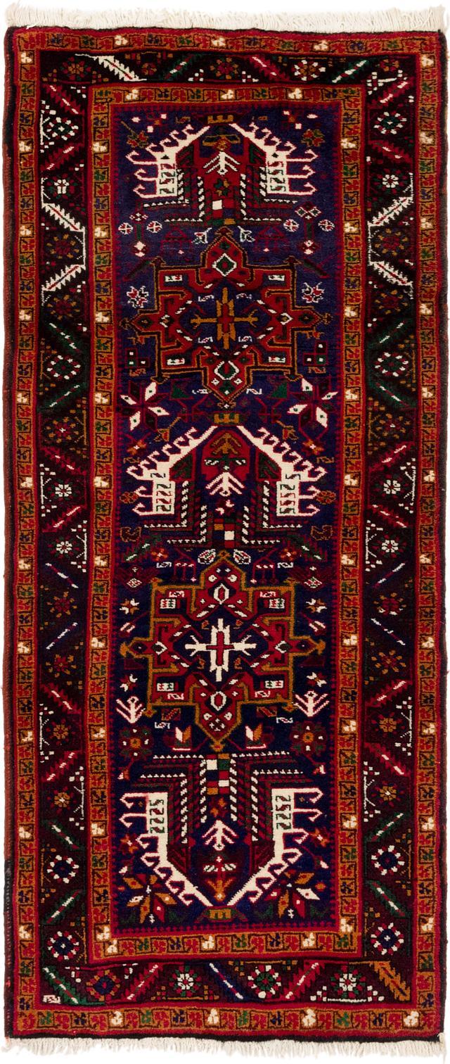Navy Blue 3 3 X 7 5 Gharajeh Persian Runner Rug Persian Rugs