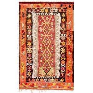 Unique Loom 3' 10 x 6' Kilim Rag Rug