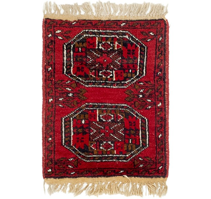 HandKnotted 1' 5 x 2' Afghan Akhche Rug