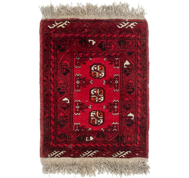 HandKnotted 1' 8 x 2' 2 Afghan Akhche Rug